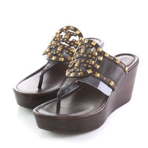Tory Burch Leather Studded Wedge Thong Sandals